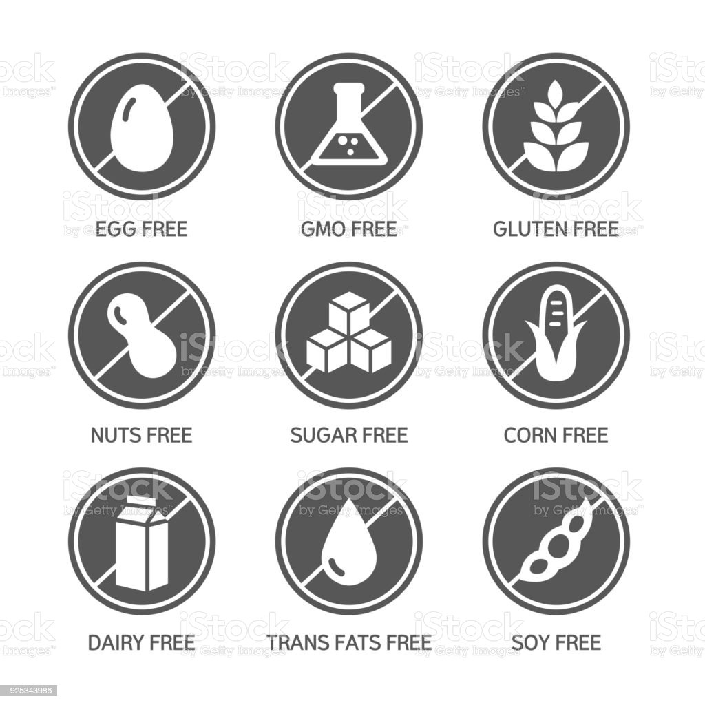 Allergens Icons - Symbols vector art illustration
