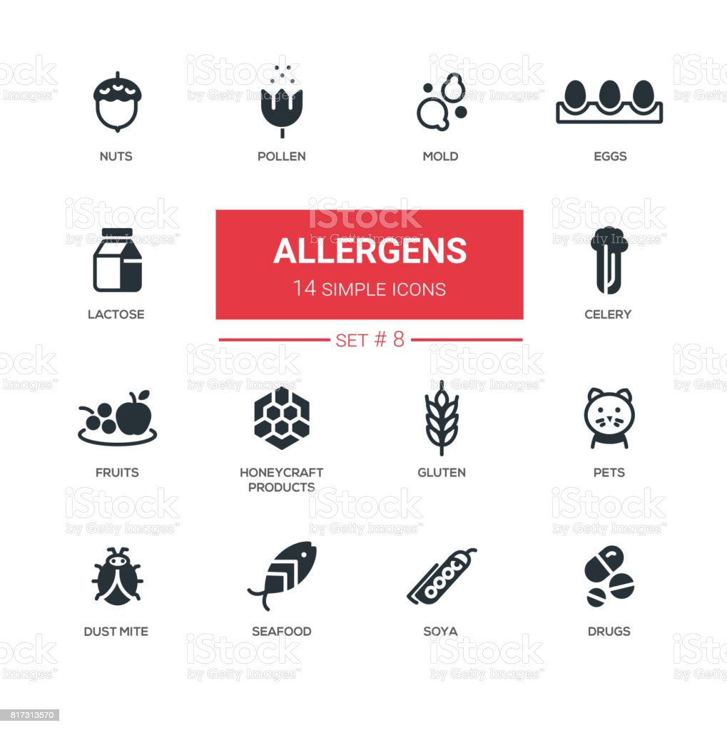 Allergens - Modern simple thin line design icons, pictograms set vector art illustration