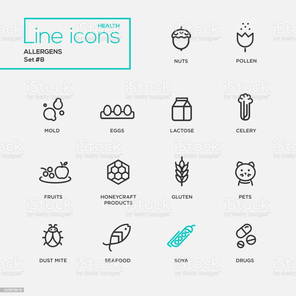 Allergens - simple thin line design icons, pictograms set vector art illustration