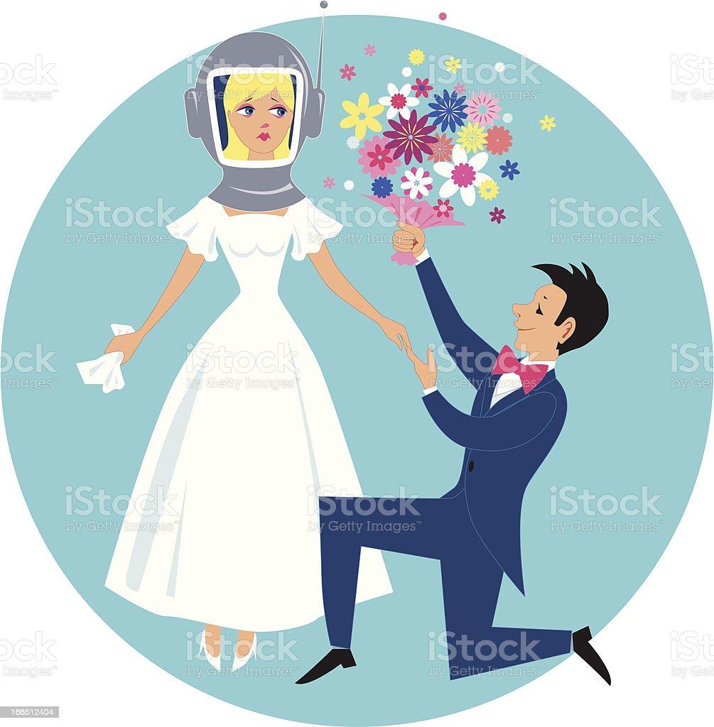 Allergic bride royalty-free stock vector art