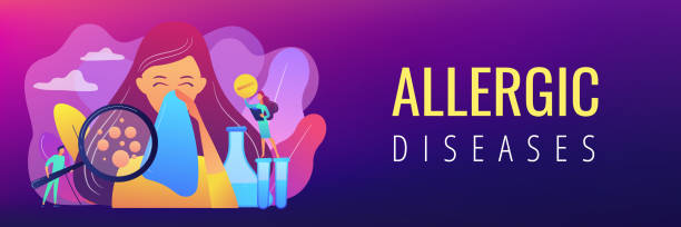Allergic diseases concept banner header. Female patient sneezing, taking a pill from doctor and allergen under magnifier. Allergic diseases, allergy reaction, antihistamines therapy concept. Header or footer banner template with copy space. antihistamine stock illustrations