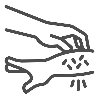 Allergic hand scabies line icon, Allergy concept, Rash hand sign on white background, one hand scratches other because of allergies icon in outline style for mobile and web. Vector graphics.