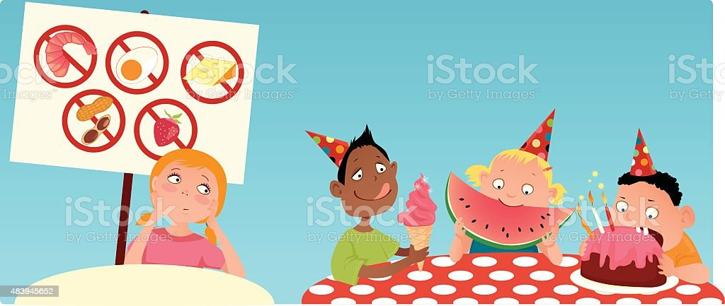 Allergic kid at the party vector art illustration
