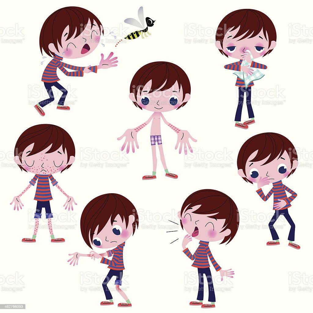 Alérgico sintomas. - ilustração de arte em vetor
