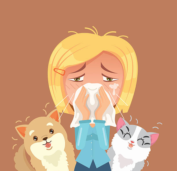 allergic to domestic animals. woman character sneeze - post it notes stock illustrations