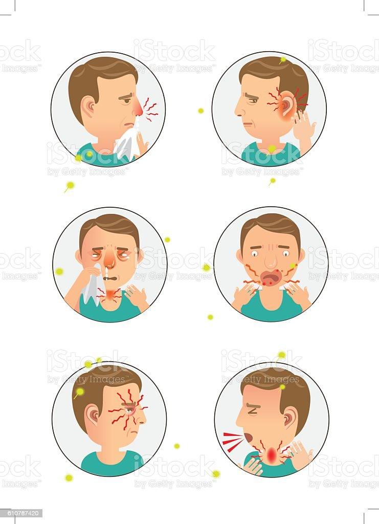 Allergic vector art illustration