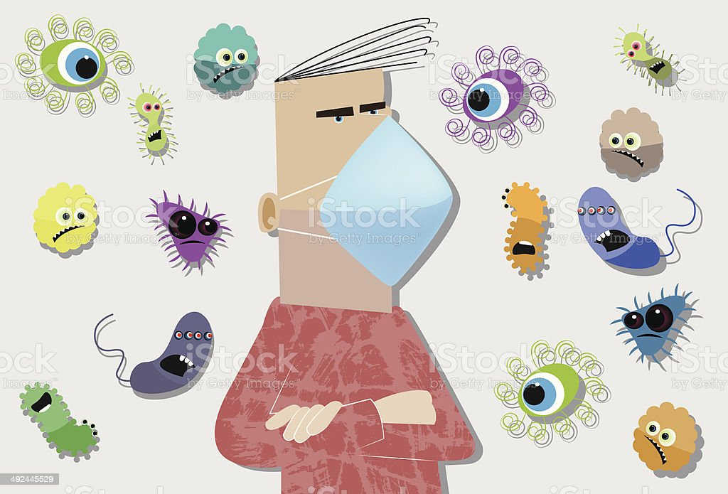 Allergies and flu virus vector art illustration