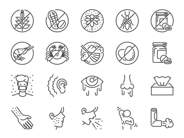 Allergies icon set. Included the icons as allergic diseases, dust allergy, food allergy, rhinitis, sinus Infection, asthma and more. vector art illustration
