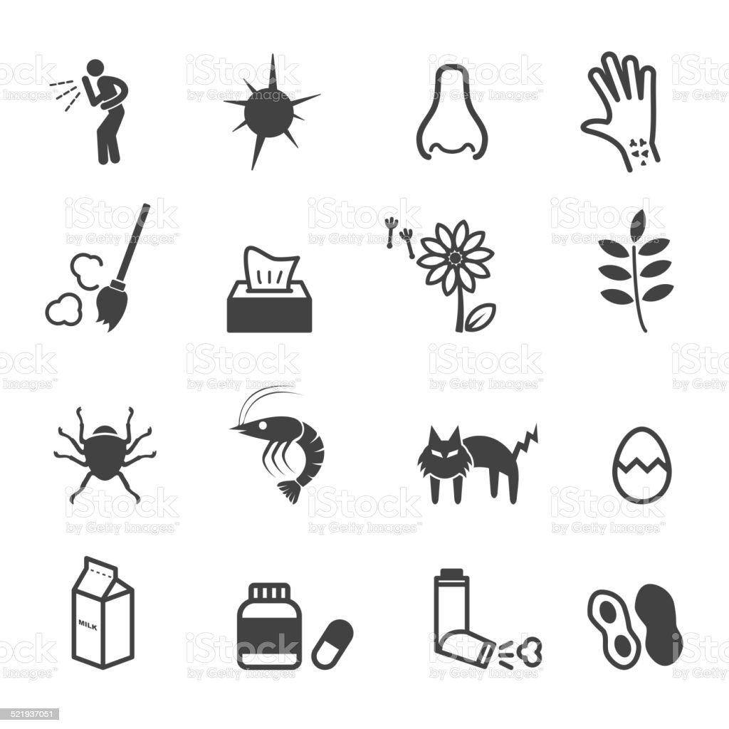 allergies icons vector art illustration