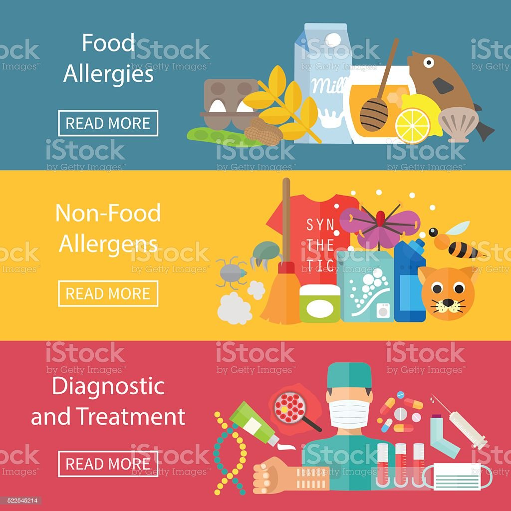 Allergies infographics set with allergens diagnostics and allergy treatment vector art illustration