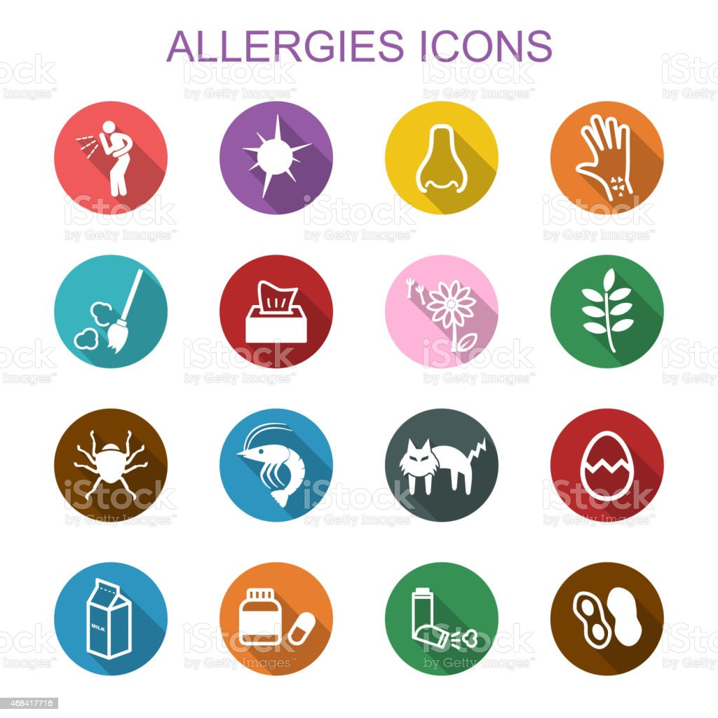 allergies long shadow icons vector art illustration