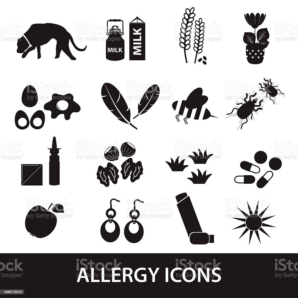 allergy and allergens black icons set eps10 vector art illustration