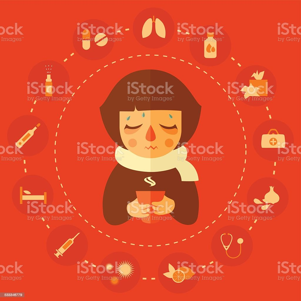 allergy and cold vector art illustration