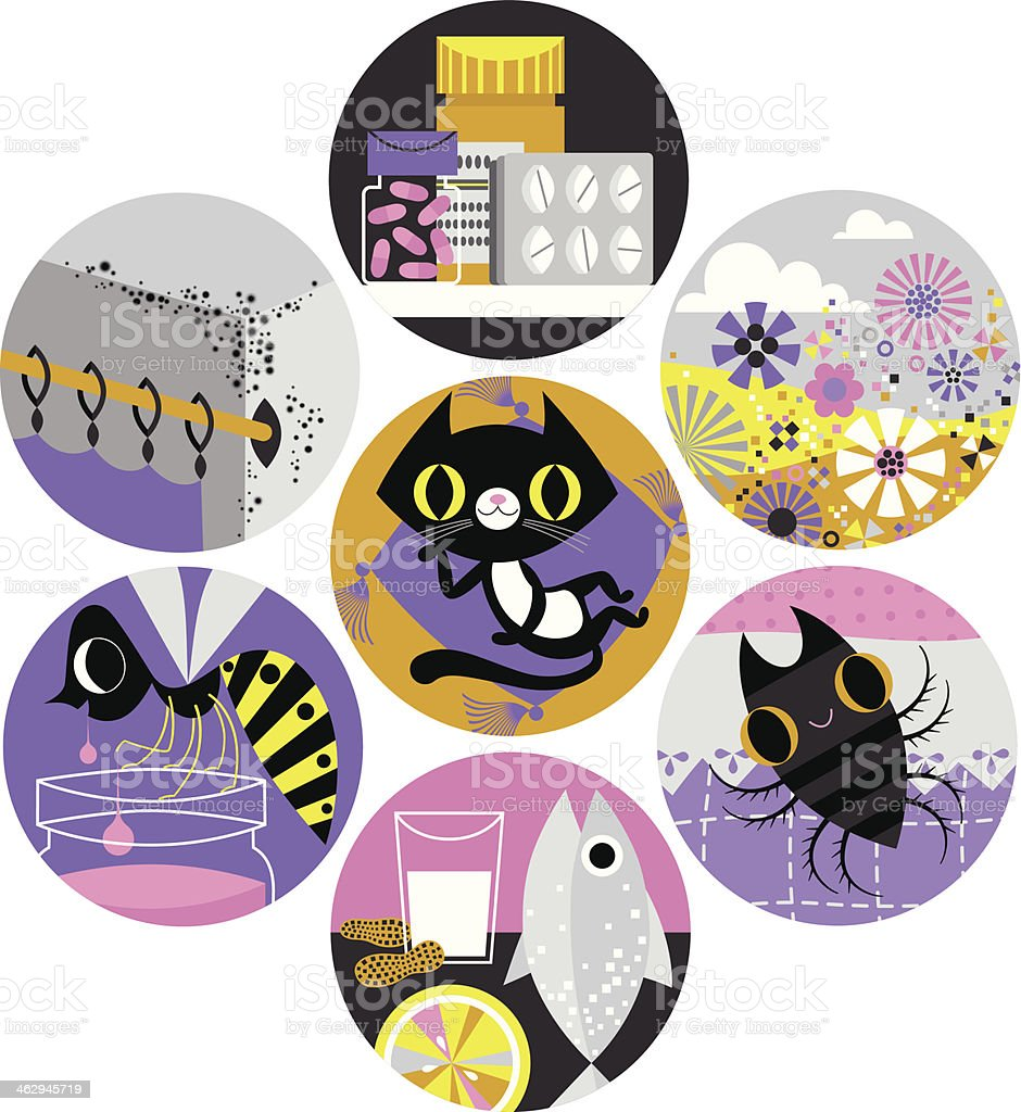 Allergy Icons. royalty-free stock vector art