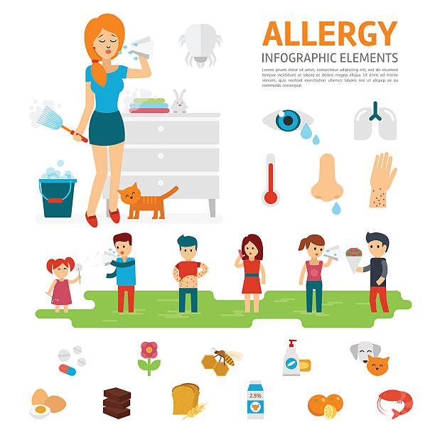 Allergy infographic elements vector flat design illustration. vector art illustration