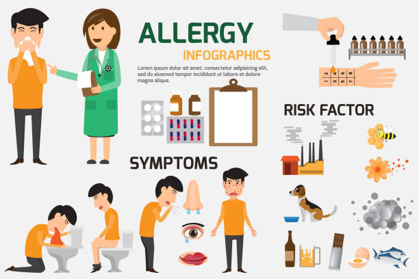 Allergy Infographic Set. Content graphics of symptoms and prevention allergy disease. health and medical concept vector illustration. vector art illustration