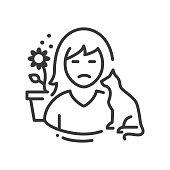 istock Allergy - line design style single isolated icon 1254589867
