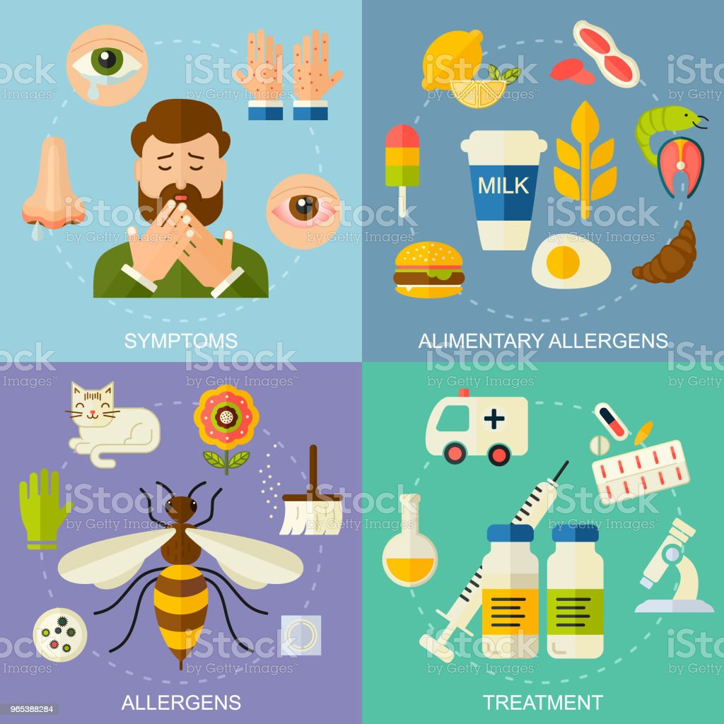Allergy symptoms and treatment vector square illustration.  The most common allergens icons set, flat style. Medicine and health symbols. Medical background. royalty-free allergy symptoms and treatment vector square illustration the most common allergens icons set flat style medicine and health symbols medical background stock vector art & more images of allergy