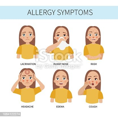 Allergy symptoms - lacrimation, sneezing, cough, runny nose, headache, rash, swelling. Illustration of a cute girl.