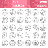 Allergy thin line icon set, Allergen symbols collection or sketches. Allergies linear style signs for web and app. Vector graphics isolated on white background