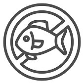 Allergy to seafood line icon, Allergy concept, seafood allergy sign on white background, Forbidden sign with fish icon in outline style for mobile concept and web design. Vector graphics