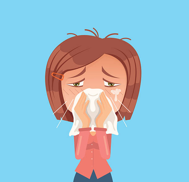 Allergy woman character sneeze. Vector flat cartoon illustration vector art illustration