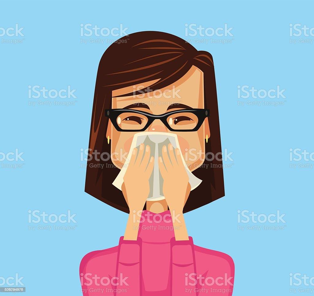 Alergia mulher. Vetor ilustração plana - ilustração de arte em vetor