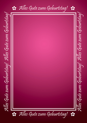 Alles gute zum Geburtstag - red vector greeting card with white frame with letters