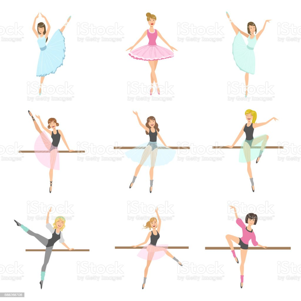 allet Dancers In Different Poses Rehearsing Set 벡터 아트 일러스트