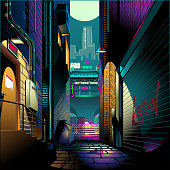 Alley at night cyber punk theme vector illustration background