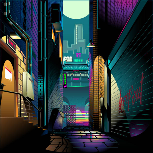 alley at night cyber punk theme - деловой центр города stock illustrations