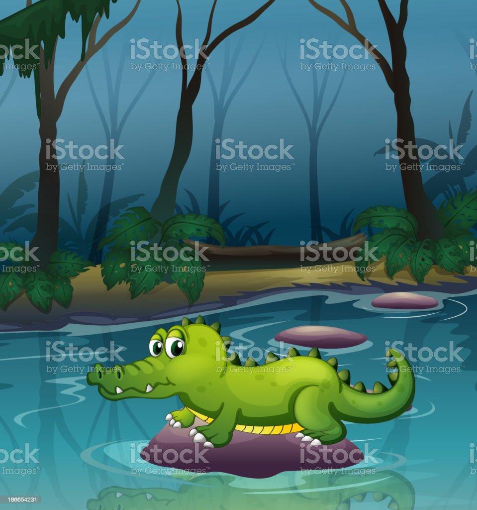 alligator at river inside the forest royalty-free alligator at river inside the forest stock vector art & more images of alligator