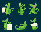 Alligator characters. Wildlife crocodile amphibian reptile animal cartoon mascot poses vector illustration set