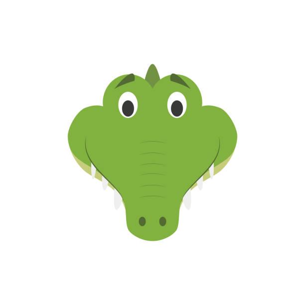 alligator face in cartoon style for children. animal faces vector illustration series - crocodile stock illustrations