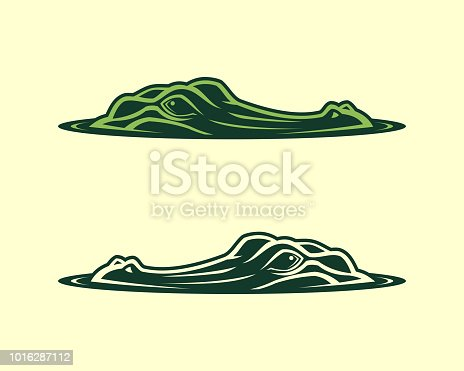 Alligator face emerging from water vector illustration