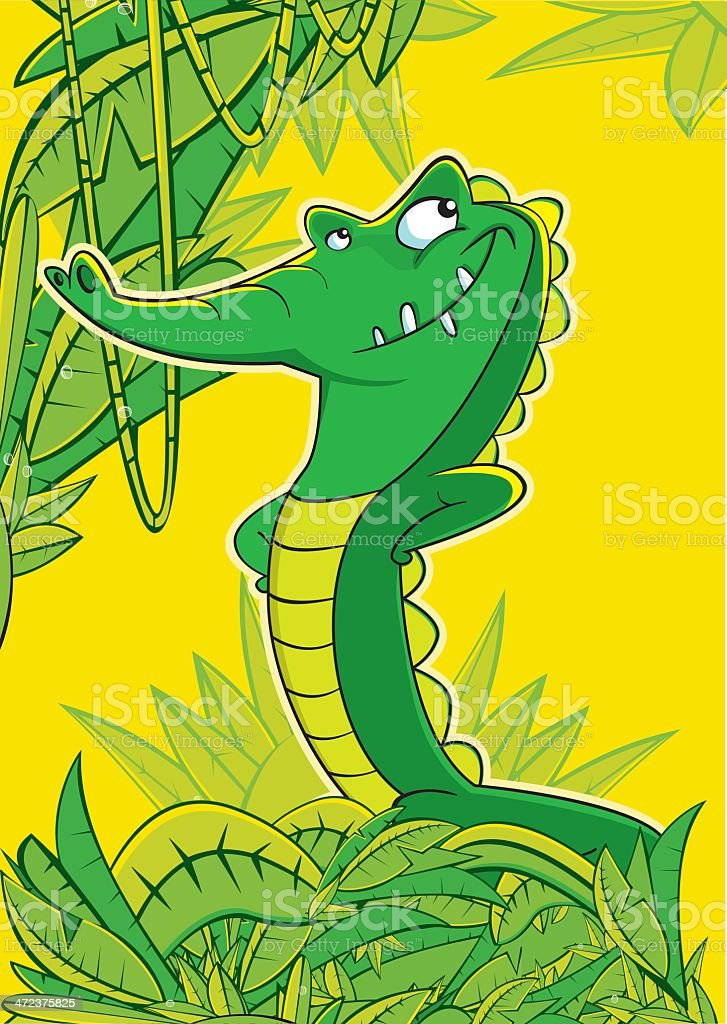 Alligator or crocodile in the jungle. King of reptiles royalty-free stock vector art