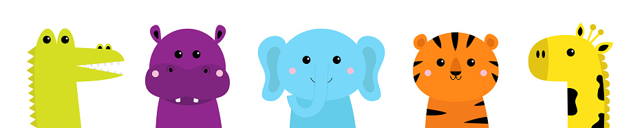 Alligator, tiger elephant, hippopotamus, giraffe. Hippo, river-horse. Cute cartoon kawaii animal face icon set. Notebook cover tshirt. Baby greeting card print. White background. Flat design