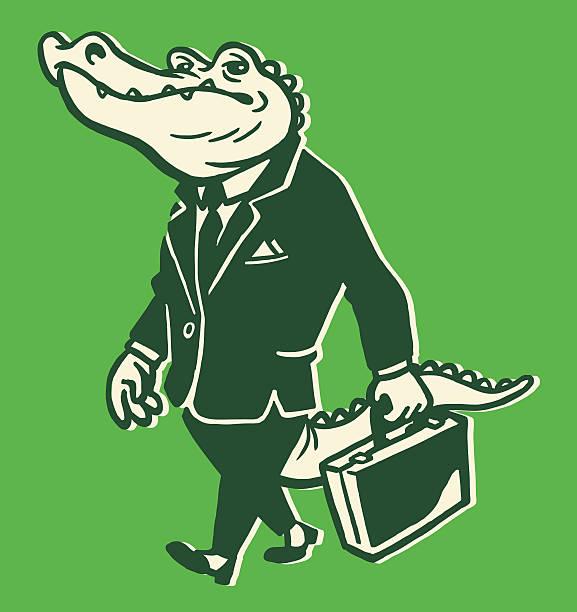 alligator wearing suit - alligator stock illustrations