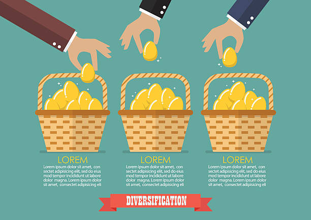 Allocating eggs into more than one basket infographic vector art illustration