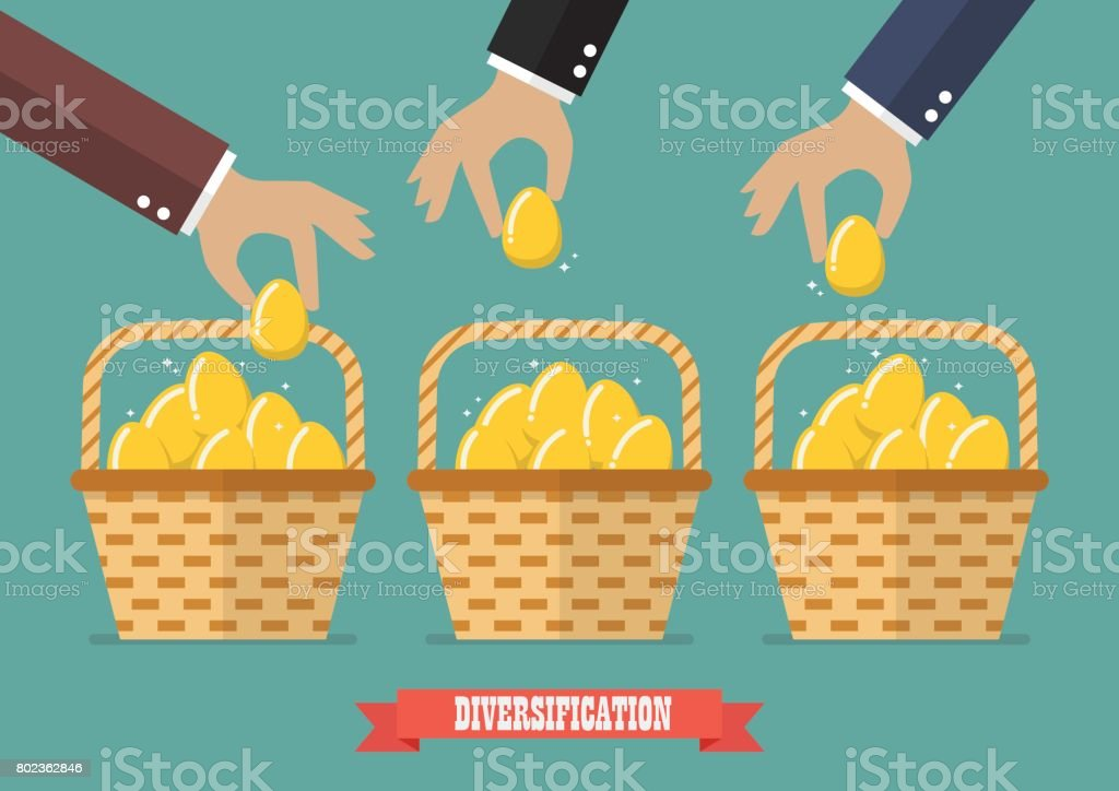 Allocating eggs into more than one basket vector art illustration