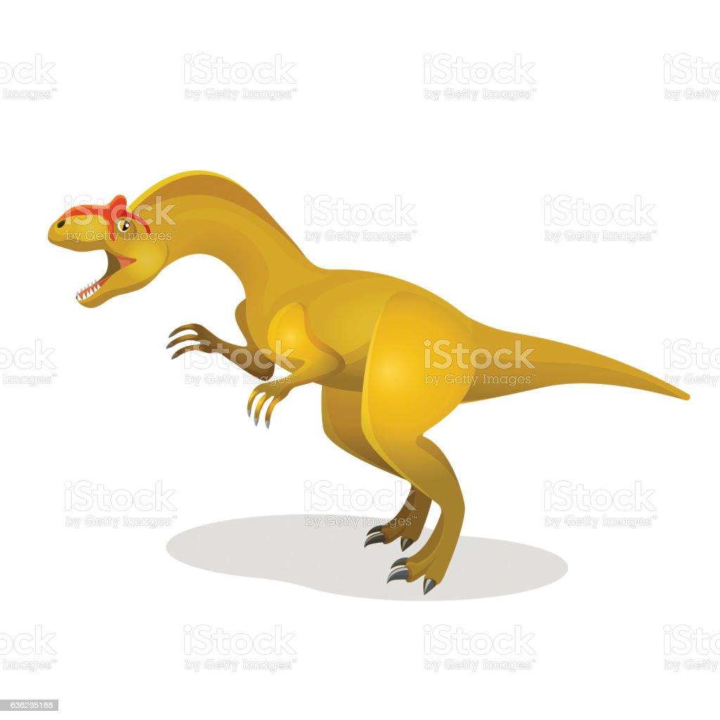 Allosaurus, differen lizard isolated on white. Large theropod vector art illustration