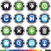 11 color super glossy web buttons with internet navigation icons and metallic frame. There are 11 color sets of 16 buttons set on different layers. Hi-res .jpg, .ai and .eps files included.