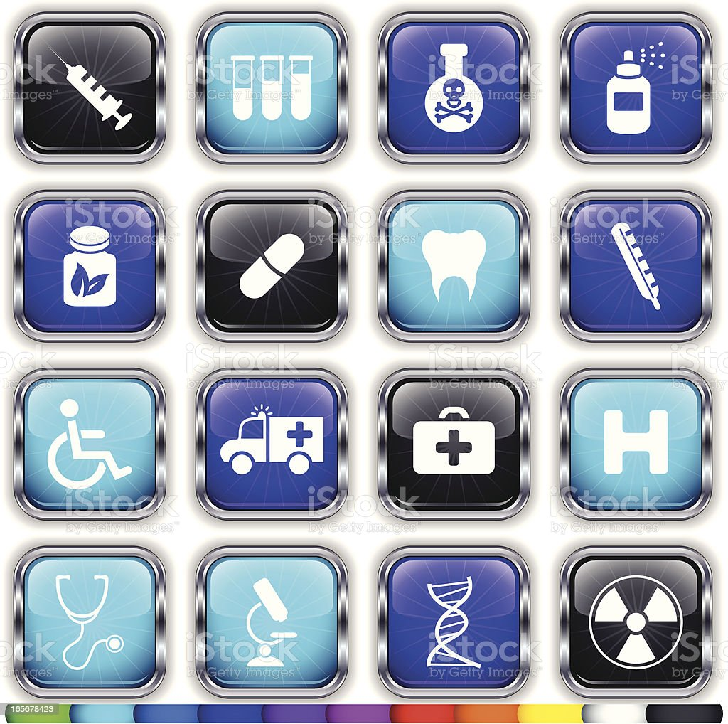 Alloy Super Glossy Medical Web Buttons on 11 Different Colors royalty-free stock vector art