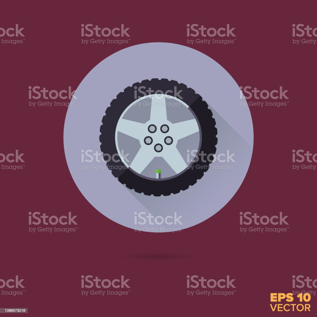 Alloy wheel flat design vector icon vector art illustration