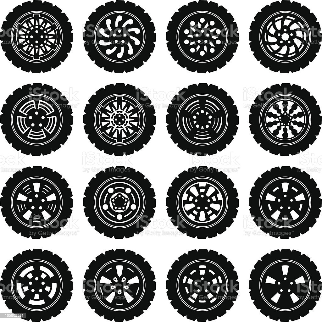Alloy Wheels collection vector art illustration