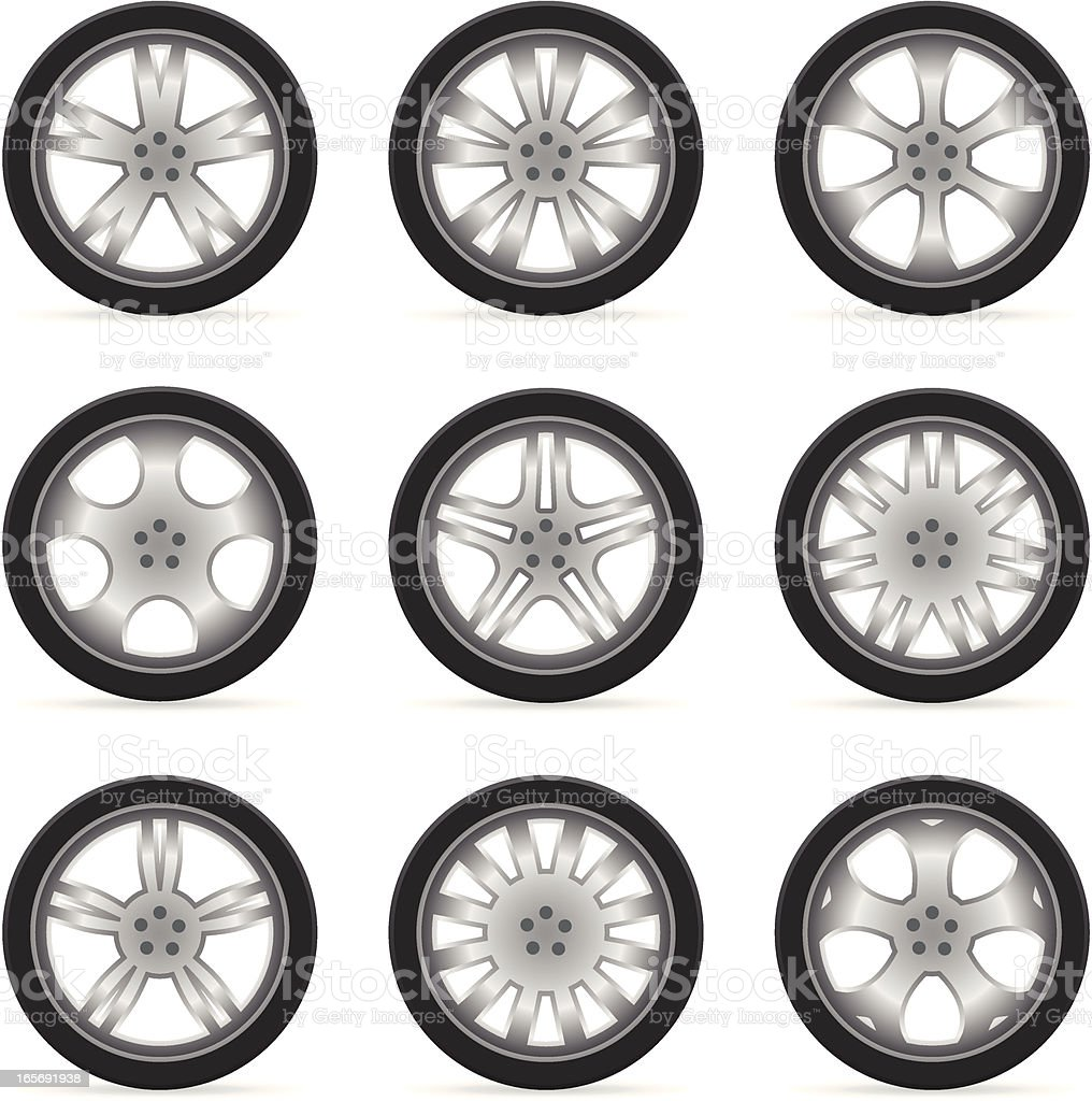 Alloy Wheels (Rims & Tires) vector art illustration