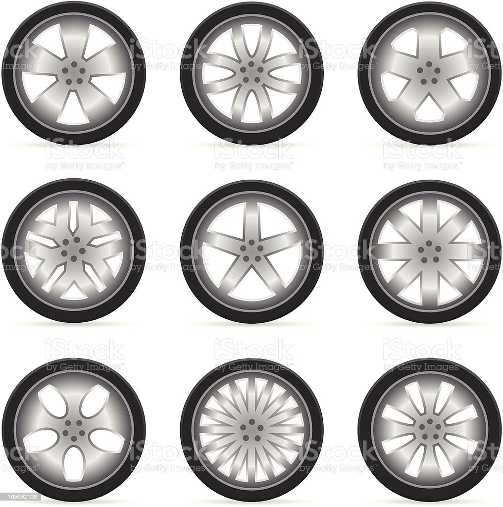 Alloy Wheels (Rims & Tires) royalty-free stock vector art
