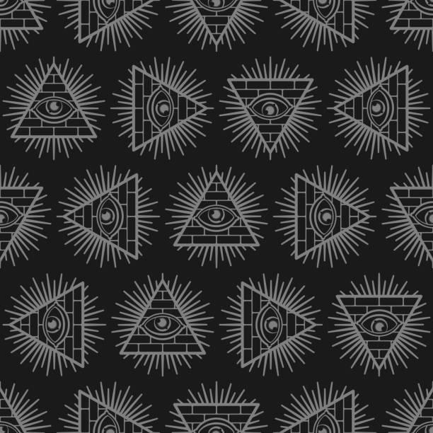 stockillustraties, clipart, cartoons en iconen met all-seeing oogachtergrond. piramide met een oogpatroon naadloos. symbool van de wereldregering. illuminati complottheorie textuur. heilige teken ornament - paranoïde