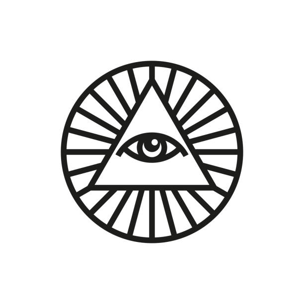 all-seeing eye icon or logo template. the eye of god. vector - третье око stock illustrations
