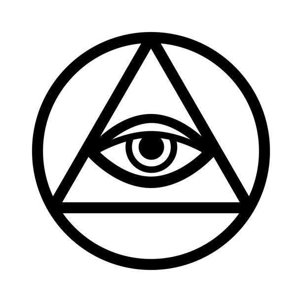 all-seeing eye of god (the eye of providence | eye of omniscience | luminous delta | oculus dei). ancient mystical sacral symbol of illuminati and freemasonry. - третье око stock illustrations